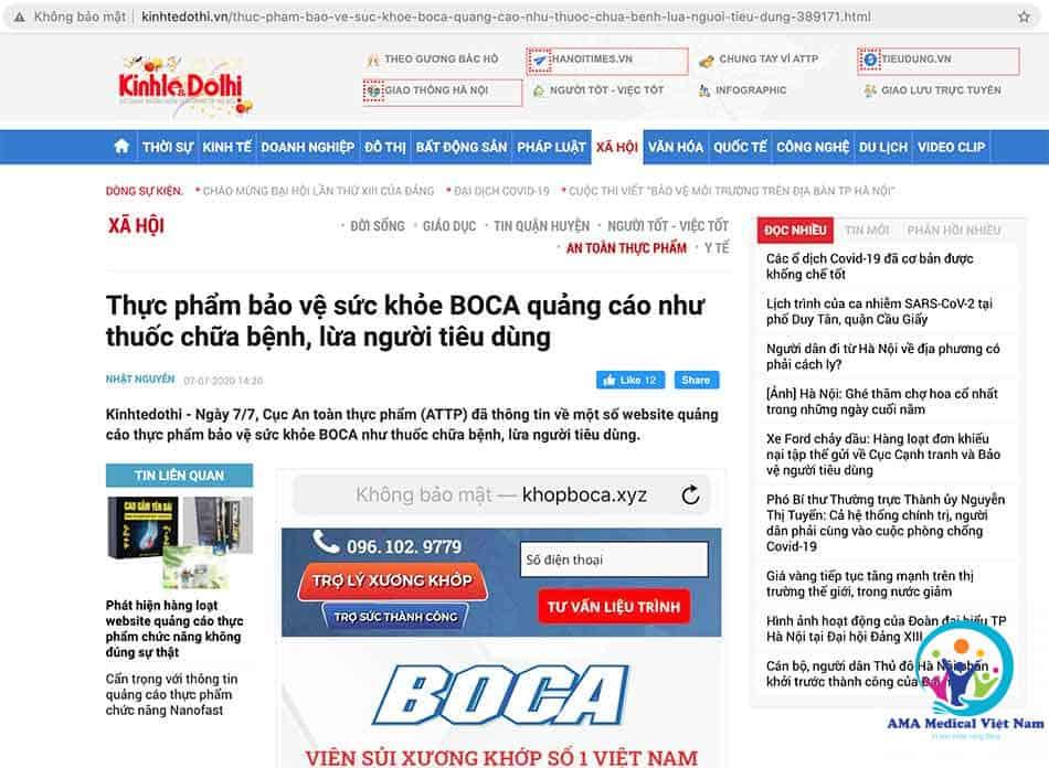 Báo Kinh Tế Đô Thị: Thực phẩm bảo vệ sức khỏe BOCA quảng cáo như thuốc chữa bệnh, lừa người tiêu dùng