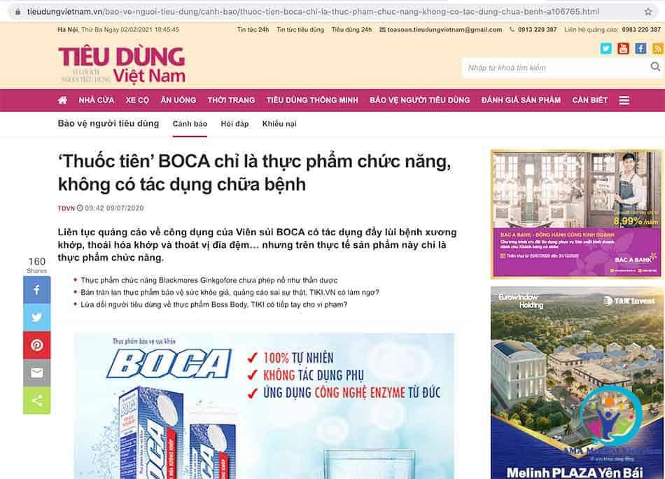 Tiêu dùng Việt Nam: 'Thuốc tiên' BOCA chỉ là thực phẩm chức năng, không có tác dụng chữa bệnh