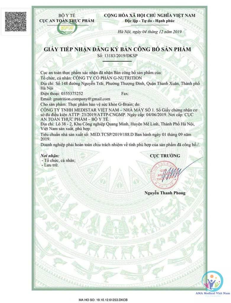 Giấy tiếp nhận đăng ký bản công bố sản phẩm G-Brain