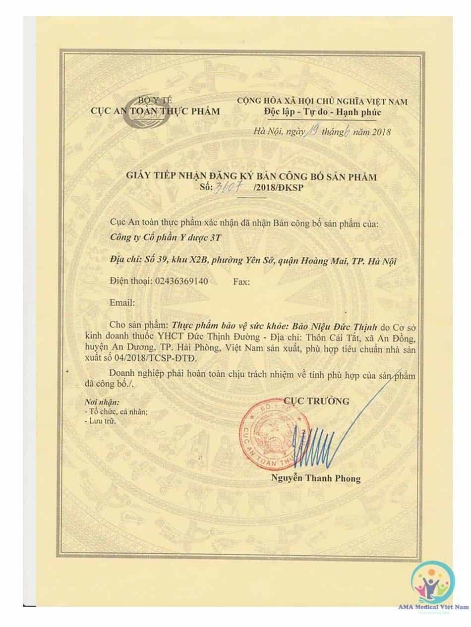 Giấy tiếp nhận đăng ký bản công bố sản phẩm Bảo Niệu Đức Thịnh