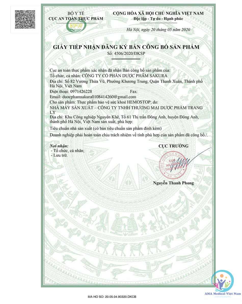 Giấy tiếp nhận đăng ký bản công bố sản phẩm Hemostop