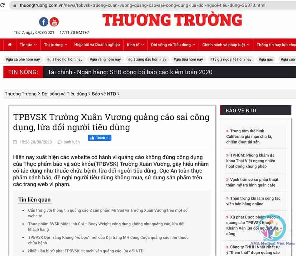 Báo Thương Trường đăng tin cảnh báo
