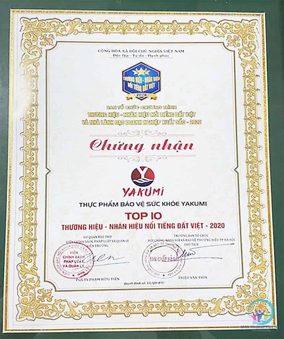 Yukami lọt top 10 thương hiệu nổi tiếng Việt năm 2020