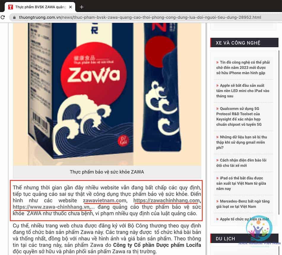 Báo Thương Trường nói về Zawa lừa đảo