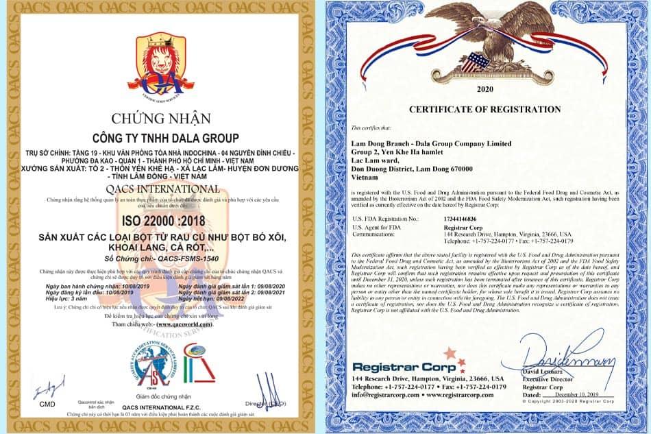 Dalahouse đạt chứng nhận ISO 22000:2018 và chứng nhận của FDA tại Mỹ