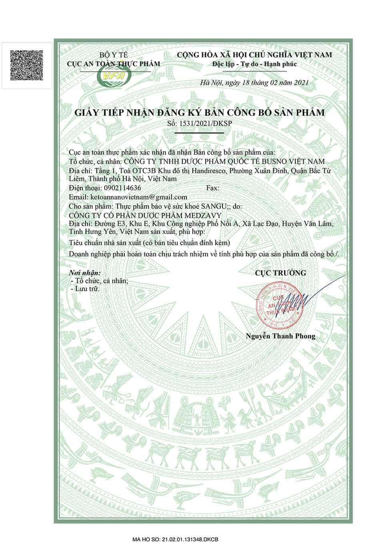 Giấy tiếp nhận đăng ký bản công bố sản phẩm Sangu