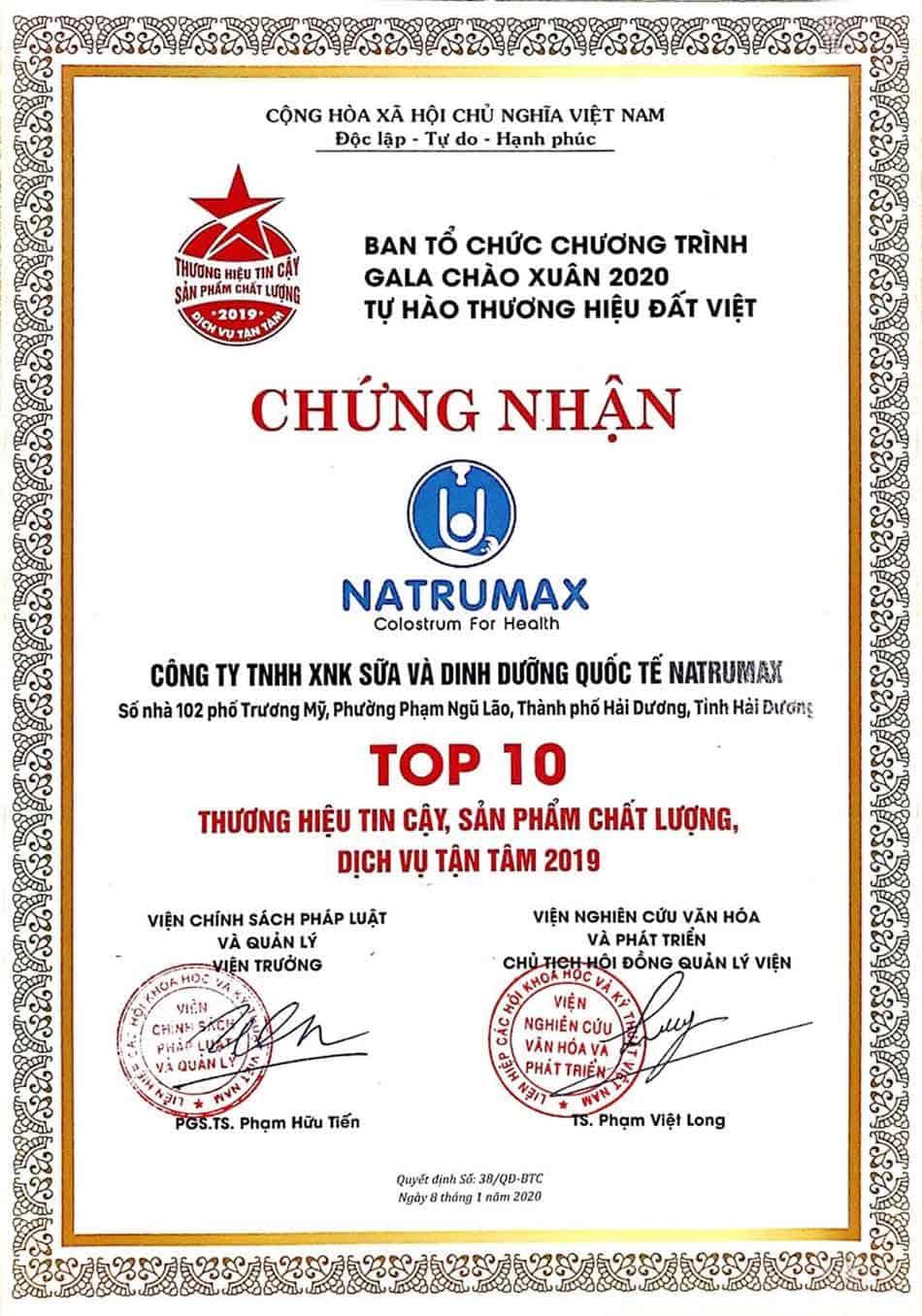 Công ty TNHH Sữa và Dinh dưỡng Quốc tế Natrumax được chứng nhận TOP 10 Thương hiệu tin cậy