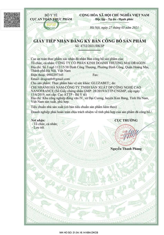 Giấy tiếp nhận đăng ký bản công bố sản phẩm Gluzabet