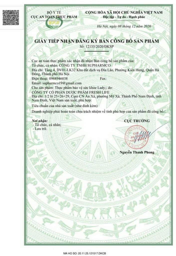 Giấy tiếp nhận đăng ký bản công bố sản phẩm Viên sủi Lady