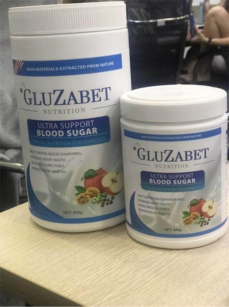Hai hộp sữa Gluzabet 800g và Gluzabet 400g