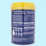 Mặt sau lon sữa Gransure Gold 850g